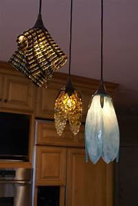 Trio, Of, Fused, Glass, Pendant, Lights