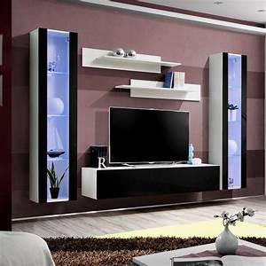 Meuble Tv Mural Blanc : meuble tv mural design fly ii 260cm noir blanc ~ Dailycaller-alerts.com Idées de Décoration