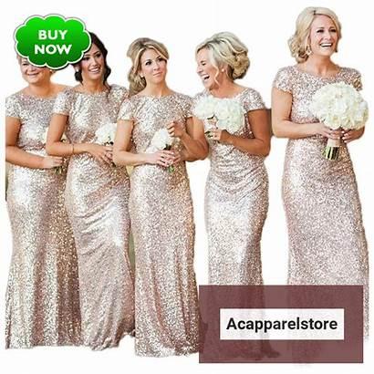 Prom Bridesmaid Dresses Sequins Rose Sequin