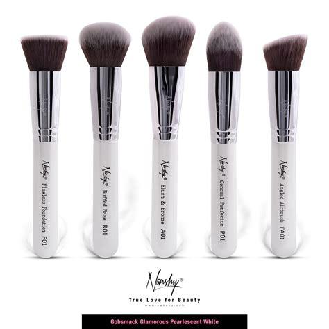 gobsmack glamorous pearlescent white kabuki style brushes