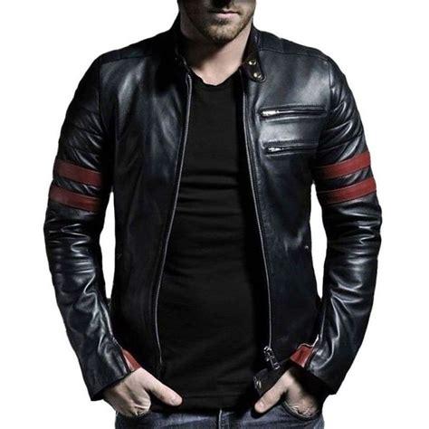 men 39 s red stripe leather jacket genuine leather ebay