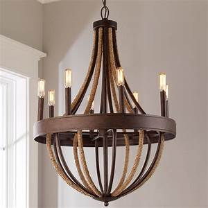 Rustic, Rope, Wrapped, Chandelier, -, Large