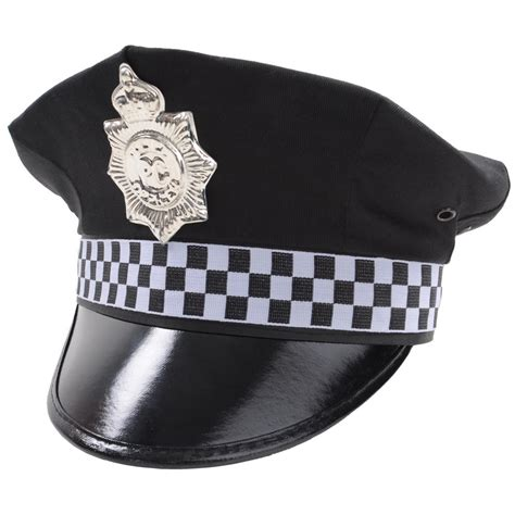 black police constable officer fancy dress peaked cap stag