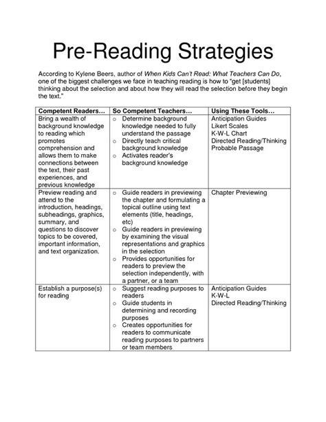 kylene beers reading strategies pre reading strategies