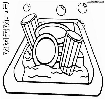 Dishes Coloring Pages Dirty Sink Drawing Colorings