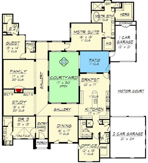 central courtyard dream home tx architectural designs house plans