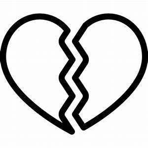 Broken Heart, Heart Shape, Heart Silhouette, signs icon
