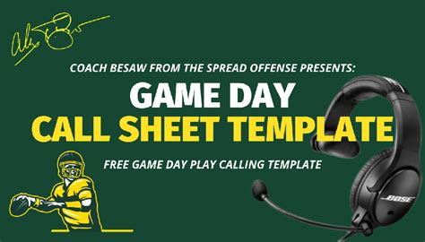 game day call sheet template   spread offense coachtube