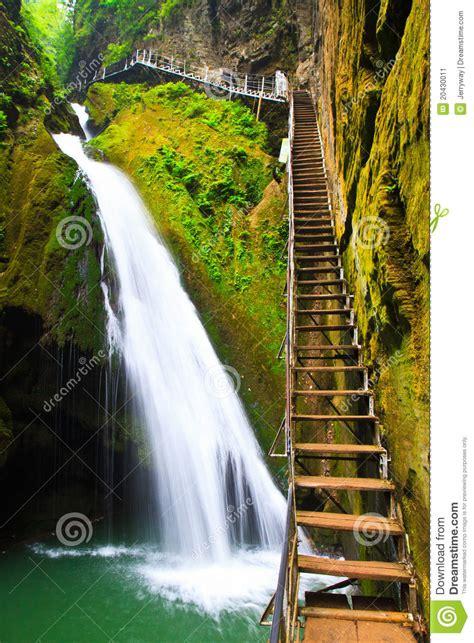 cascading waterfall dragon gorge china stock image