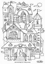 Haunted Colouring Pages Coloring Houses Halloween Mansion Printable Become Member Log Ride sketch template