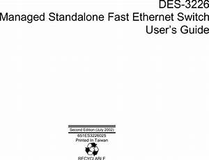 D Link Des 3226 Users Manual Dhs Fast Ethernet Switch