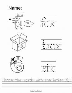 Trace the words with the letter X Worksheet - Twisty Noodle