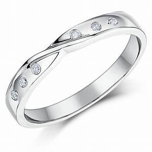 3mm 9ct white gold diamond set twist wedding ring band for Wedding ring sets uk