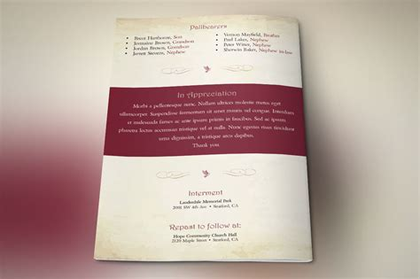 watercolor funeral program publisher template  behance