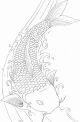 Pages Koi Fish Coloring Drawings Drawing Tattoo Japanese Dragon Printable Adults Colouring Carp Outline Sheet Books Adult Element Butterfly Simple sketch template