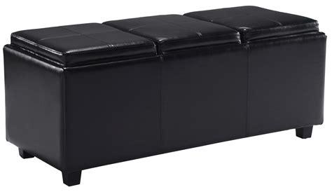 black ottoman serving tray amazon com simpli home avalon rectangular faux leather