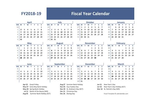fiscal year calendar template uk  printable