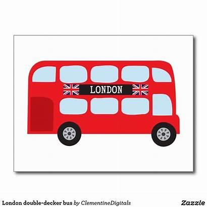 Bus London Decker Double Cartoon Clipart Postcards