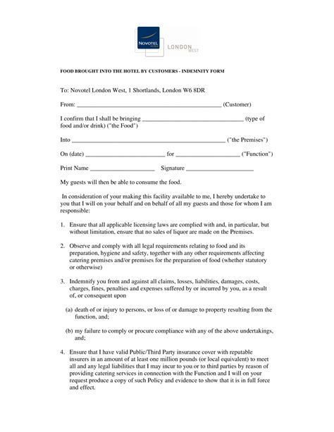 restaurant waiver forms   ms word