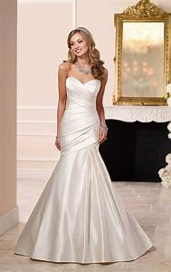 elegant satin fit flare wedding dress stella york With flare wedding dresses
