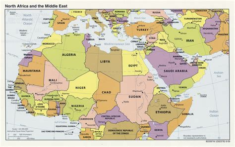 large political map  north africa   middle east