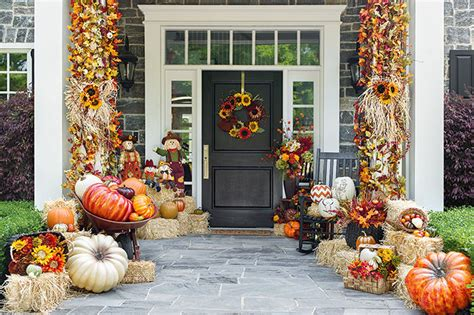 Beautiful House Decorated For Autumn Pictures, Photos, And