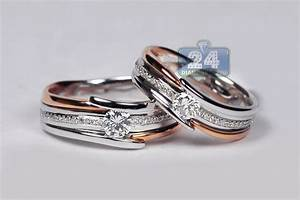 Diamond two wedding bands set 18k two tone gold 078 ct for Two toned wedding ring sets