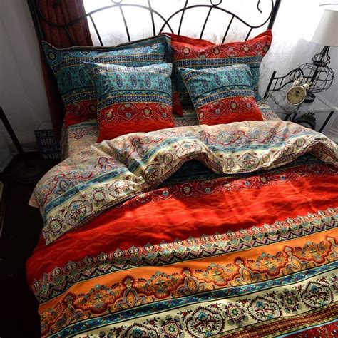 colorful bohemian bedding boho style duvet cover set colorful stripe bohemia bedding set 4 piece ebay