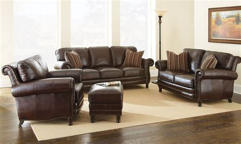 chateau top grain leather living room set chs steve