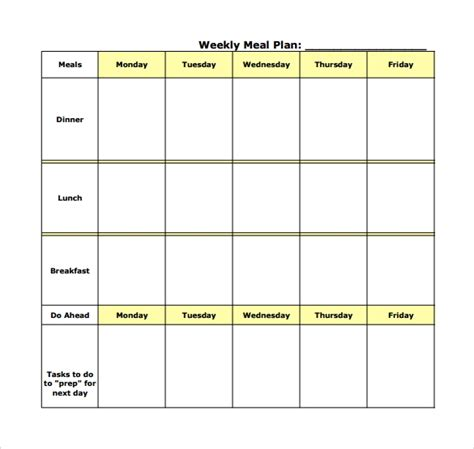 Diet Calendar Template by 17 Meal Planning Templates Pdf Excel Word Sle
