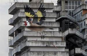 Artists take a ride on a 4 story goldfinch painted on an for Artists take a ride on a 4 story goldfinch painted on an abandoned building in naples