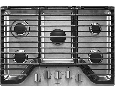 whirlpool 5 burner gas cooktop whirlpool wcg97us0ds 30 quot 5 burner gas cooktop w flexheat