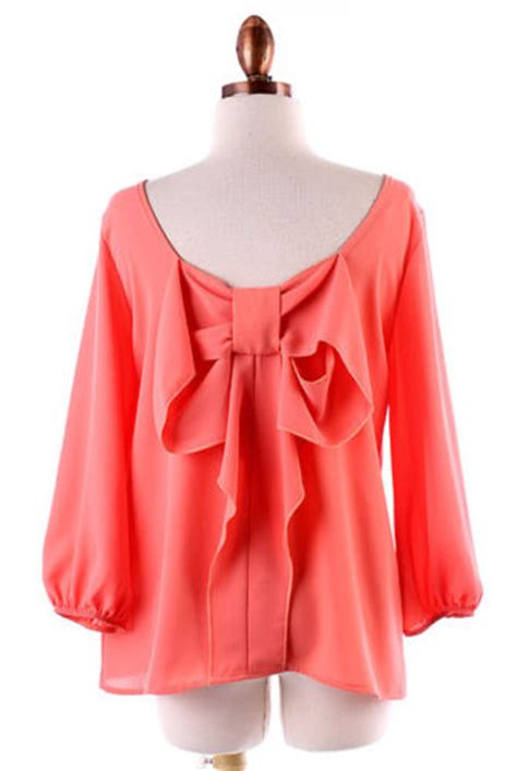 coral blouses and tops coral bow back blouse shirt size small medium large ebay