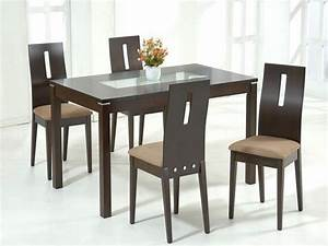 Wood and glass dining table and chairs glass dining for Choosing glass dining room tables for small space