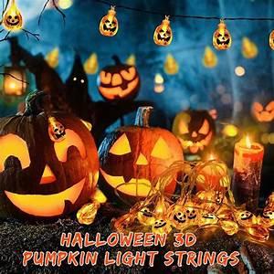 Halloween, 3d, Pumpkin, Light, Strings, 10led, Orange, Pumpkin, Decorative, String, Lights, For, Halloween