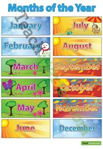 Months Seasons of the Year