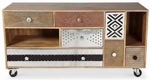 Meuble Tv Vintage : meuble tv 6 tiroirs vintage bois manguier massif indra ~ Teatrodelosmanantiales.com Idées de Décoration