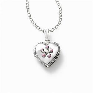 Girls Pink Flower Locket Half Inch Sterling Silver