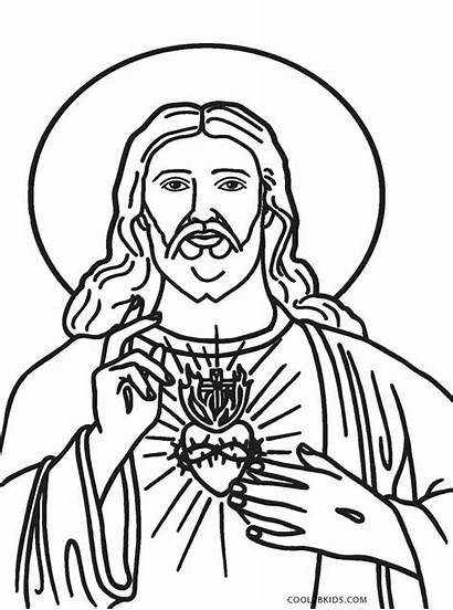 Jesus Coloring Printable Pages Heart Drawing Sacred