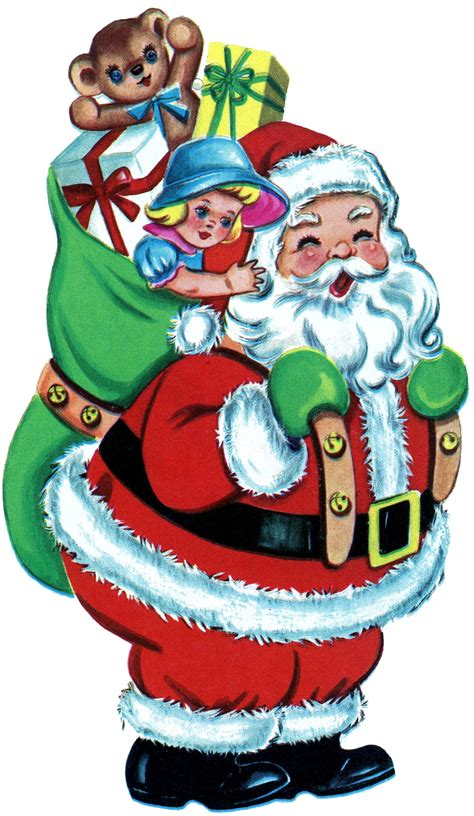 free clipart free picture retro santa with toys the