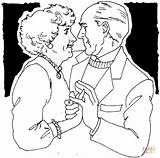 Coloring Couple Pages Dancing Drawing Dance Couples Da Irish Printable Adult Elderly Sketch Illustrations sketch template