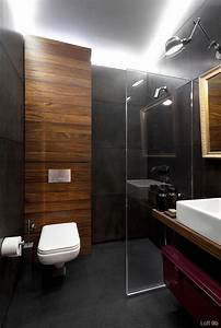 an architect39s attic apartment with custom furniture With bathroom in the woods