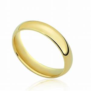 men39s 14k yellow gold 4mm classic domed plain wedding band With plain gold band wedding ring