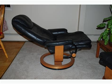 palliser black leather recliner with ottoman city