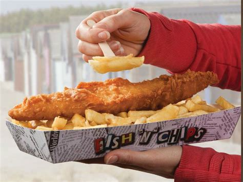 fish  chips   takeaway cardboard container  ideal