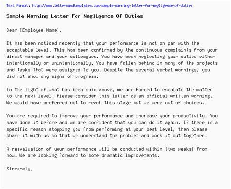 sample warning letter for negligence of duties