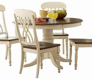 White and cherry kitchen table, antique white round
