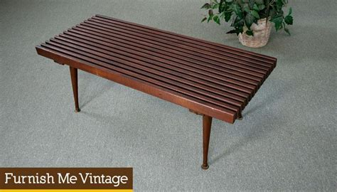Small Vintage Slat Bench Coffee Table