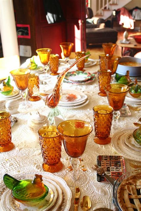 thanksgiving table settings holiday amber glassware cutlery november