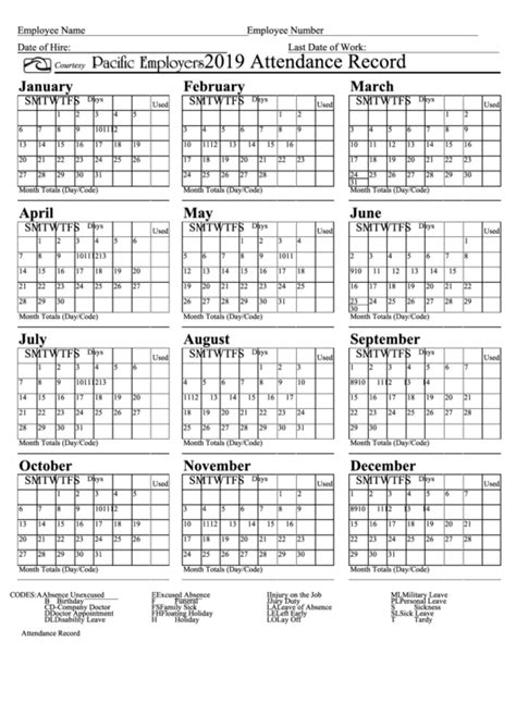 attendance record calendar template pacific employers
